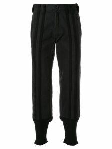 Yohji Yamamoto Pre-Owned striped steamed trousers - Black