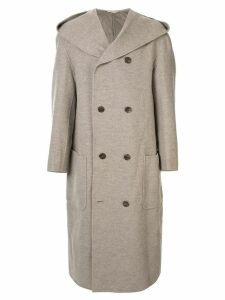 Issey Miyake Pre-Owned hooded wool overcoat - Neutrals