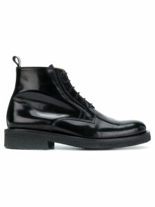Ami Paris Laced Boots With Crepe Sole - Black