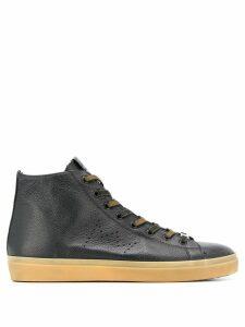 Leather Crown logo hi-top sneakers - Black