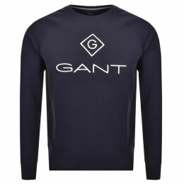 Gant Logo Crew Neck Logo Sweatshirt Navy