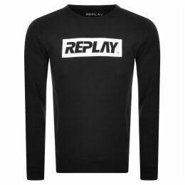 Replay Crew Neck Logo Sweatshirt Black