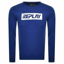 Replay Crew Neck Logo Sweatshirt Blue