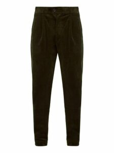 Oliver Spencer - Pleated Cotton Blend Corduroy Trousers - Mens - Green