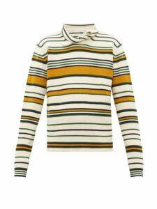 Jw Anderson - Collar Tie Striped Wool Sweater - Mens - Yellow Multi