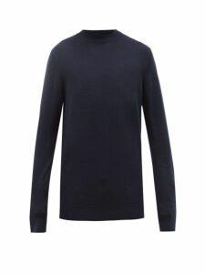 Sunspel - High Neck Merino Wool Sweater - Mens - Navy
