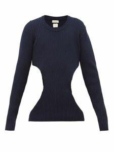 Bottega Veneta - Cut Out Ribbed Cotton Blend Sweater - Mens - Navy