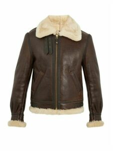 Schott - Military B 3 Shearling Lined Leather Jacket - Mens - Brown