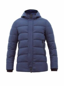 Herno - Clive Hooded Wool Blend Felt Jacket - Mens - Navy