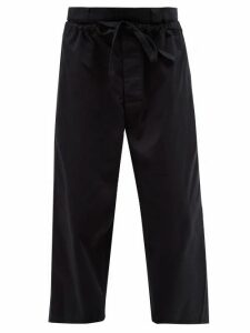 Jw Anderson - Double Layer Cotton Twill Wide Leg Trousers - Mens - Navy