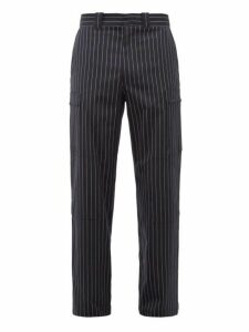 Jw Anderson - Zipped Pocket Striped Wool Blend Trousers - Mens - Navy