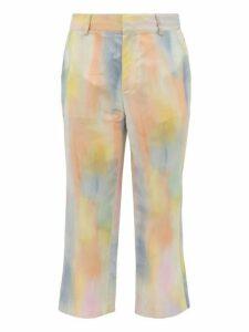 Sies Marjan - Alex Watercolour Print Satin Trousers - Mens - Multi
