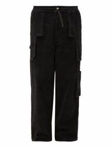 P.a.m. - Patch Pocket Cotton Corduroy Wide Leg Trousers - Mens - Black