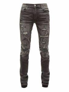 Amiri - Thrasher Distressed Slim Leg Jeans - Mens - Grey