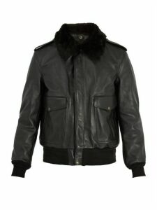 Schott - Detachable Faux Shearling And Leather Jacket - Mens - Black