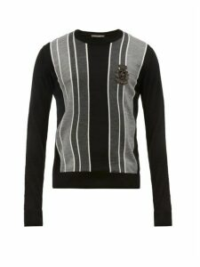 Dolce & Gabbana - Embroidered Logo Striped Virgin Wool Sweater - Mens - Grey Multi