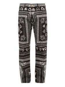Versace - Heart And Greca Print Cotton Blend Jeans - Mens - Black