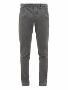 Incotex - Verve Slim Fit Moleskin Trousers - Mens - Grey