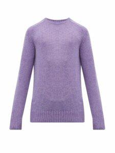 Prada - Ribbed Trim Virgin Wool Sweater - Mens - Purple