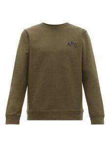 A.p.c. - Naim Logo Print Cotton Sweatshirt - Mens - Khaki