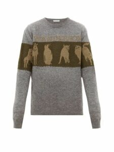 Jw Anderson - Animal Jacquard Wool Blend Sweater - Mens - Grey Multi