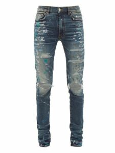 Amiri - Paint Splatter Distressed Slim Leg Jeans - Mens - Indigo