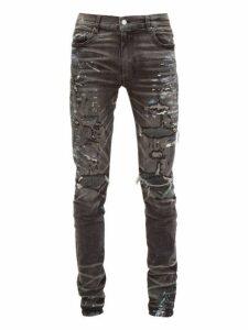 Amiri - Paint Splatter Distressed Slim Leg Jeans - Mens - Grey