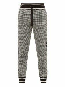 Dolce & Gabbana - Houndstooth Knit Track Pants - Mens - Black White