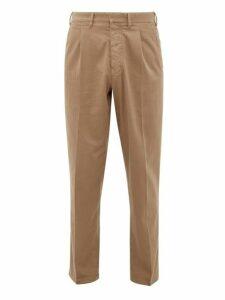 The Gigi - Santiago Cotton Blend Twill Tapered Trousers - Mens - Dark Beige