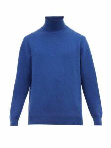 Altea - Roll Neck Wool Blend Sweater - Mens - Blue