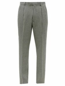 Alexander Mcqueen - Houndstooth Wool Slim Leg Trousers - Mens - Black White