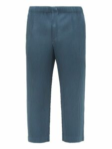 Homme Plissé Issey Miyake - Cropped Leg Pleated Trousers - Mens - Blue