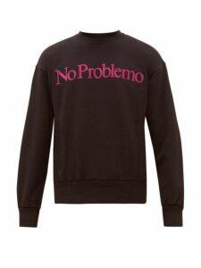 Aries - No Problemo Flocked Cotton Sweatshirt - Mens - Black