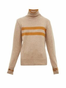 Oliver Spencer - Talbot Striped High Neck Wool Sweater - Mens - Beige