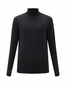 Sunspel - Roll Neck Merino Wool Sweater - Mens - Black