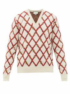 Gucci - V Neck Harness Instarsia Wool Blend Sweater - Mens - White