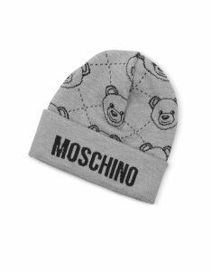 Moschino Designer Men's Hats, Gray Moschino Beanie w/ Teddy Bear Print