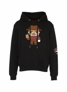 Textured man with claw print hoodie