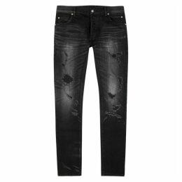 Balmain Black Distressed Slim-leg Jeans