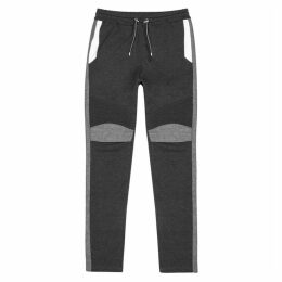 Balmain Grey Panelled Cotton Sweatpants