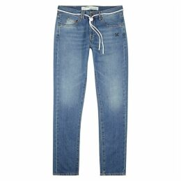 Off-White Blue Embroidered Slim-leg Jeans