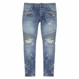 Balmain Blue Distressed Skinny Jeans
