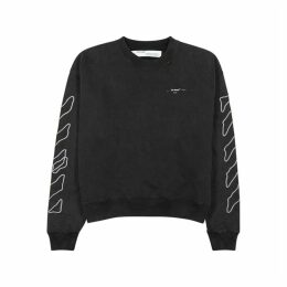 Off-White Abstract Arrows Embroidered Cotton Sweatshirt