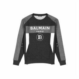 Balmain Grey Panelled Cotton Jersey Sweatshirt
