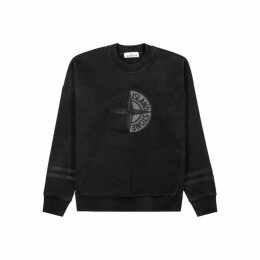 Stone Island Black Logo-embroidered Cotton Sweatshirt