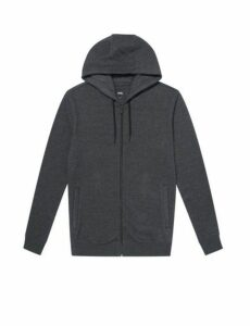 Mens Dark Grey Marl Zip Through Hoodie, Grey