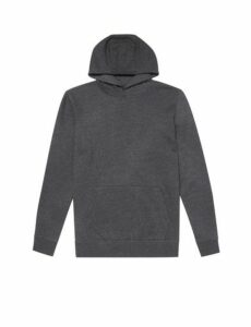 Mens Dark Grey Marl Overhead Hoodie, CHARCOAL