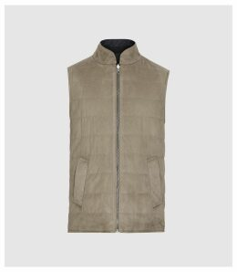 Reiss Molveno - Reversible Gilet in Taupe, Mens, Size XXL