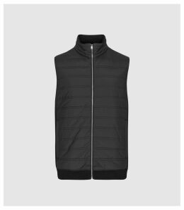 Reiss William - Quilted Gilet in Black, Mens, Size XXL