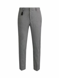 Mens Black And White Stretch Skinny Fit Bold Dogtooth Trousers, Black